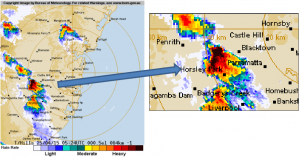 BOM data shows intense storm activity around Huntingwood in Western Sydney